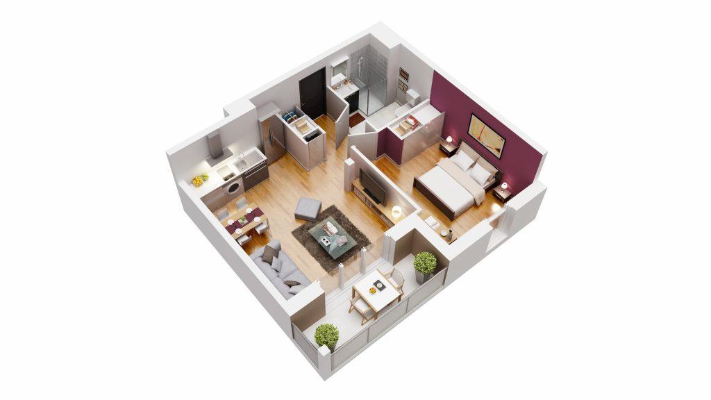 Un plan 3D de logement neuf