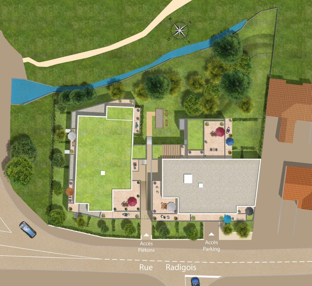 Le plan de masse d'une résidence signée Primalys, promoteur immobilier à Nantes